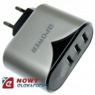 Ładowarka USB siec. 4.4A  3xUSB Czarno-Srebr 100-240Vzasil. NE