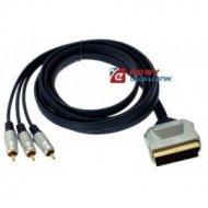 Kabel SCART-3*RCA 2,5m Digital RCA--SCART