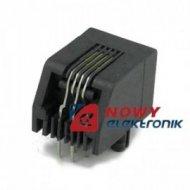 Gniazdo tel.PCB 6p4c X40 kątowe czarne