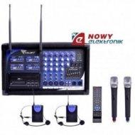 Mikrofon bezprzew.PA-180 4 mikr. 2 do ręki+2 nagłowne+wzmacniacz