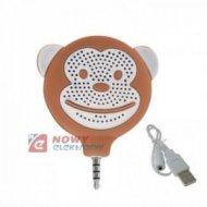Głośnik MONKEY mini TEL058 brąz. z wtykiem jack 3,5mm do GSM