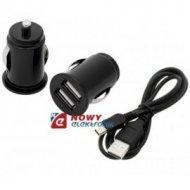 Ładowarka USBx2 1A-2,1A+mini USB samochodowa z kablem 1,5m
