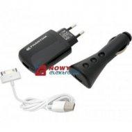 Ładowarka GSM iPhon iPod 3w1 1A sieciowa + samochodowa