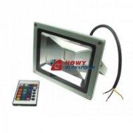 Halogen LED 20W RGB BLACK z pilotem IR ,reflektor/naświetlacz
