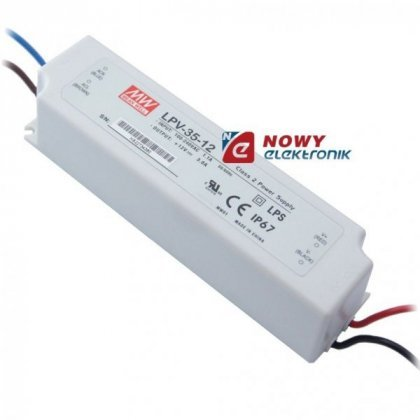 Zasilacz ZI LED 12V/3A IP67 LPV-35-12