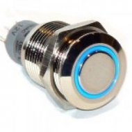 Przycisk LAS2GQF-11-E-B-12VDC-N metal./16mm/oring blue U303B przycisk