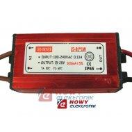 Zasilacz ZI LED prąd. 300mA 8W 15-28V 8W IP67 LED Driver metal