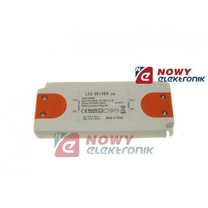 Zasilacz ZI LED prąd. 330mA 20W 42-62V plastik CC Driver