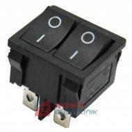 Przełącznik kołysk.mały podwójny 4pin/2poz 4A czarny
