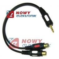 Kabel jack 3,5st-2*RCA gn. 25cm łezka  przejście