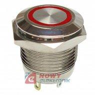 Przycisk metal. JH16-11 czerwony monostabilny podświetlany