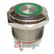Przycisk metal. JH16-11 zielony monostabilny podświetlany