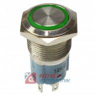 Przycisk metal. JH16-11 zielony bistabilny podświetlany