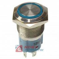 Przycisk metal. JH16-11 blue bistabilny podświetlany niebieskie