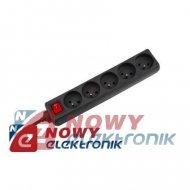 Przedłużacz 5gn 5.0m z prz.siec. czarny  (1,5mm)