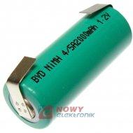 Akumulator do pakietu BYD4/5A ZB z blaszkami)1,2V 2000mAh 17x42mm