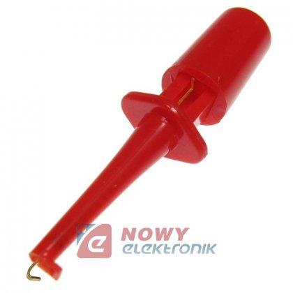Chwytak do przewodów pomiar.40mm mini haczyk czerwony
