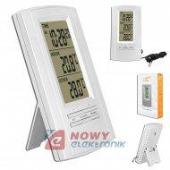 Stacja pogody STP03 srebrna temp, zegar,(budzik)
