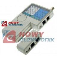 Tester sieci cat. 5  WT-4065  RJ45/RJ11/BNC/USB  okablowania