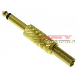 Wtyk JACK 6,3mm mono gold metal