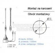 Antena sam. AAS-15 290mm podstawa anteny z przewodem