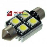 Dioda LED C5W 36mm 4xSMD5050 CAN CANBUS  Biała 12V