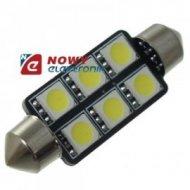 DIODA LED C5W 42mm 6xSMD5050 rurka  Biała 12V