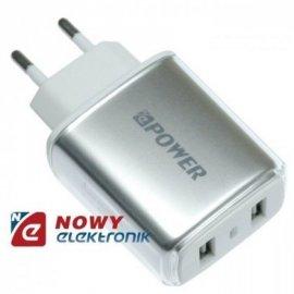 Ładowarka USB siec. 2.4A Srebrna 2xUSB 100-240Vzasil. NEPOWER