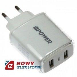 Ładowarka USB siec. 2.4A Biała 2xUSB 100-240Vzasil. NEPOWER