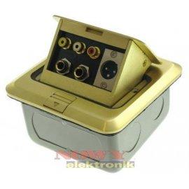 Gniazdo audio floorbox podłogowe 1xXLR 2xJACK 6.3 2xRCA metal zł.GNI0273