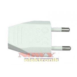 Wtyk Sieciowy płaski 230V biały na kabel