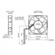 Wentylator 80x15 12V KD1208PHB kulka 36m3/h 32dBA -KD1208PHB213