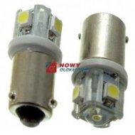 Dioda LED BA9S 1+4SMD W 12V asymetryczna BAX9S-09-W biała