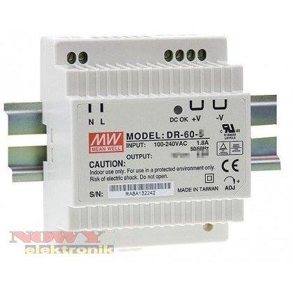 Zasilacz imp. DIN DR 60-24 24V 2.5A Impulsowy - Przem. na szynę DIN