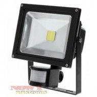 Halogen LED 20W reflektor+sensor zimny biały