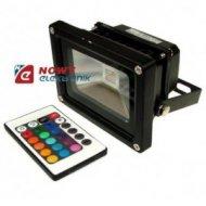 Halogen LED 10W RGB RF BLACK z pilotem radiowym,reflektor/naświetlacz