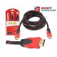 Kabel HDMI 3m czerwony v.1.4