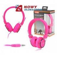 Słuchawki LTC65 nauszne czerwone lub różowe jack 3,5mm