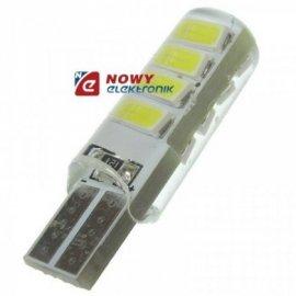 Dioda LED T10 5630 8SMD SILICA W5W Biała 12V