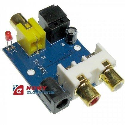 Konwerter sygnału audio C/A OEM płytka nieb.SPDIF Toslink+Coaxial--2xRCA