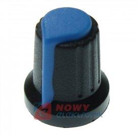 Gałka do potencjometru 6x15x17mm niebiesko-czarna
