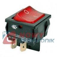 Przełącznik H8653 czerw.10A/250V 2z+N 6A/250VAC Kołyskowy podświetlany