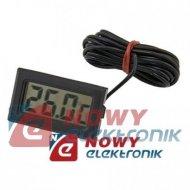 Termometr panelowy LCD -50°C do 70°C  czarny z sondą