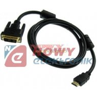 Kabel HDMI - DVI 3.0m 19pin+filt