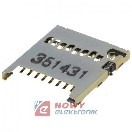 Gniazdo montażowe karty microSD montaż SMD 8 pin