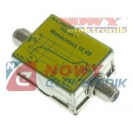 Wzmacniacz antenowy 12dB liniowy przelotowy b-z (47-862MHz) 12V/30mA