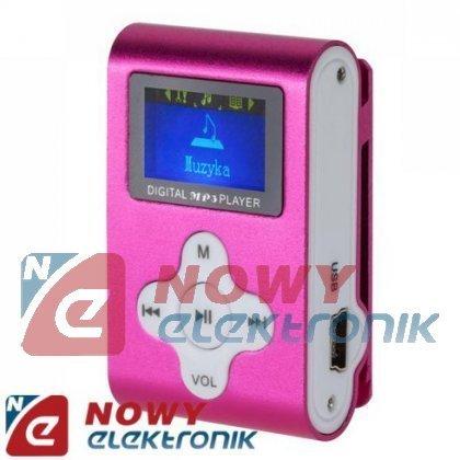 Odtwarzacz MP3 QUER z LCD różowy fun.dyktafonu/radio FM (AC309)