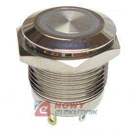 Przycisk metal. JH16-11 biały monostabilny podświetlany