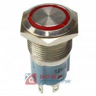 Przycisk metal. JH16-11 czerwony bistabilny podświetlany