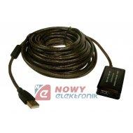 Kabel USB wt.A/gn.A 10m AKTYWNY 2.0 ze wzmacniaczem + HUB